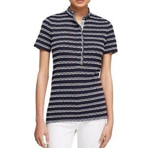 Tory Burch Lidia Dash Stripe Pullover Polo Navy